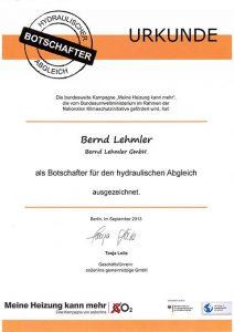 Zertifizierung Bernd Lehmler: Botschafter für den hydraulischen Abgleich