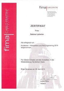 Zertifizierung Sabine Lehmler: Armaturen - Kompetenz- und Planungstraining