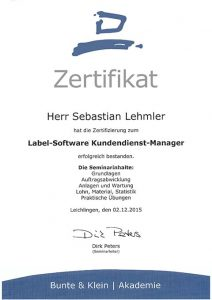 Zertifizierung Sebastian Lehmler: Label-Software Kundendienst-Manager