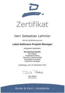 Zertifizierung Sebastian Lehmler: Label-Software Projekt-Manager