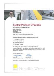 Lehmler Welschneudorf: Urkunde Systempartner Paradigma 2007