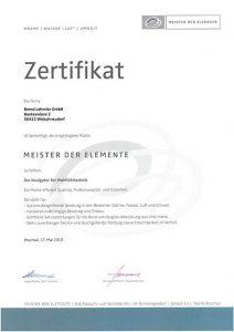 Lehmler Welschneudorf: Zertifizierung MEISTER DER ELEMENTE 2013