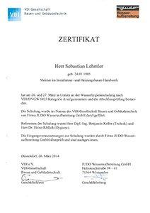 Lehmler Welschneudorf: Sebastian Lehmler hat sich zertifiziert: Wasserhygieneschulung nach VDI/DVGW 6023 Kategorie A